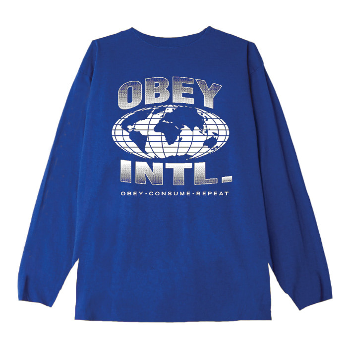 오베이 롱슬리브 OBEY CONSUME REPEAT INTL. L/S TEE/ROYAL BLUE