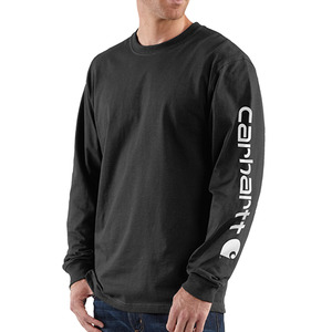 칼하트 long-sleeve graphic logo t-shirt  // black