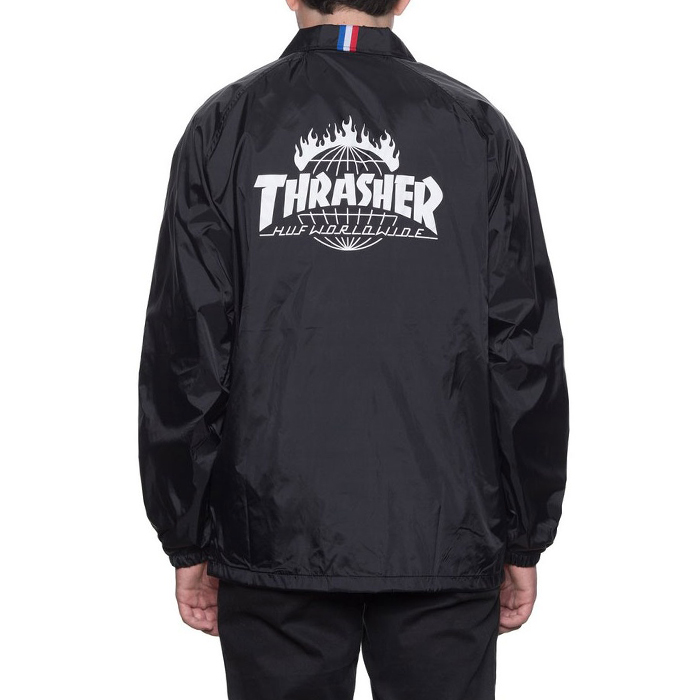 허프 트레셔 콜라보 HUF X THRASHER COACHS JACKET // BLACK