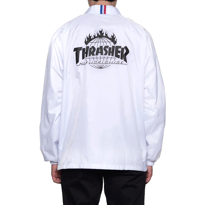 허프 트레셔 콜라보  HUF X THRASHER COACHS JACKET // WHITE