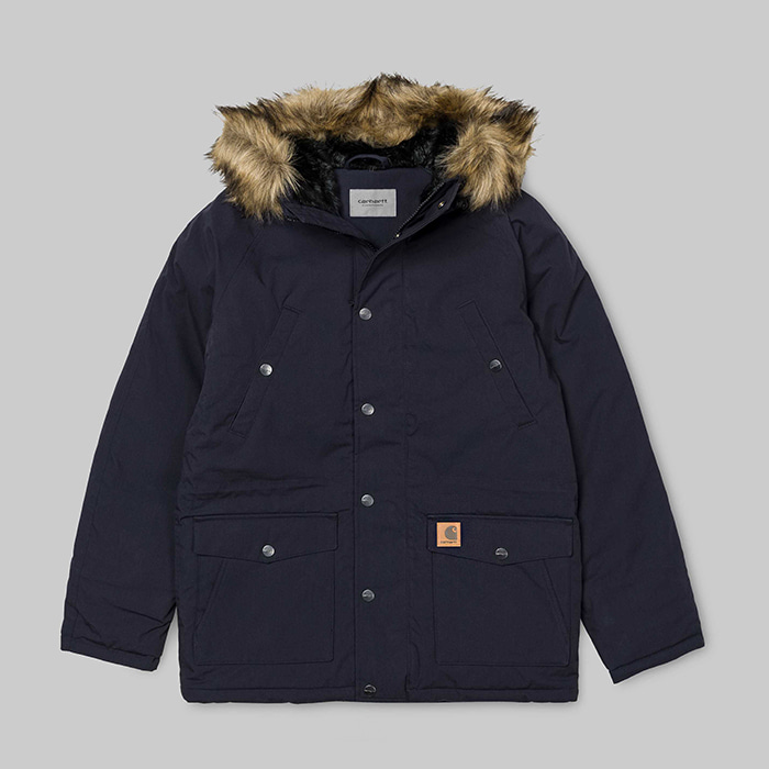 칼하트WIP   TRAPPER PARKA // DARK NAVY/BLACK