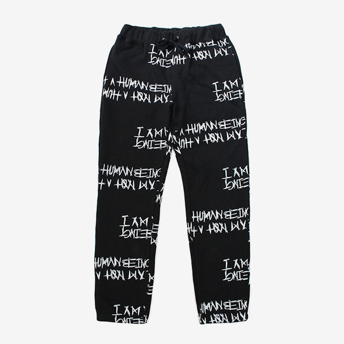 아임낫어휴먼비잉 Basic Logo Pattern Sweat Pant // Black [ 재입고 ]