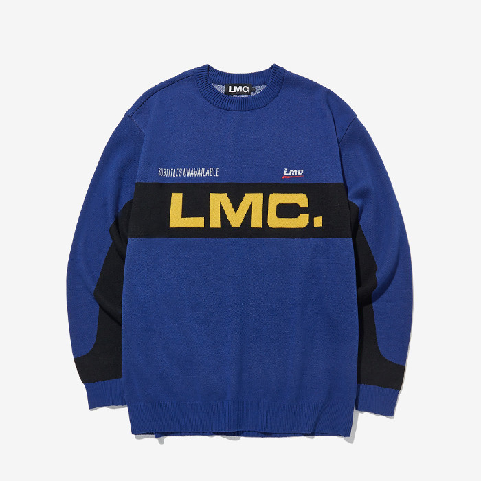 엘엠씨 RACING JACQUARD KNIT SWEATER // blue
