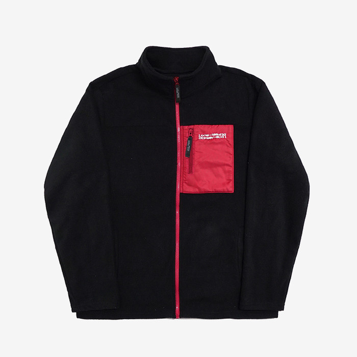 아임낫어휴먼비잉 basic logo fleece jacket // black/red