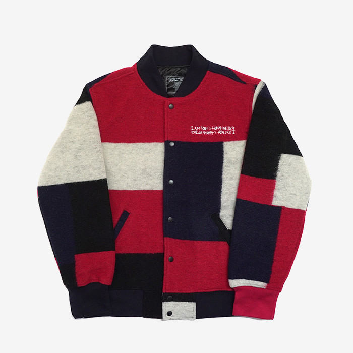 아임낫어휴먼비잉 patch work stadium jacket // multi color
