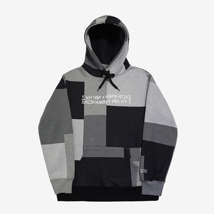 아임낫어휴먼비잉 Patch Work Basic Logo Hoodie // Achromatic Color