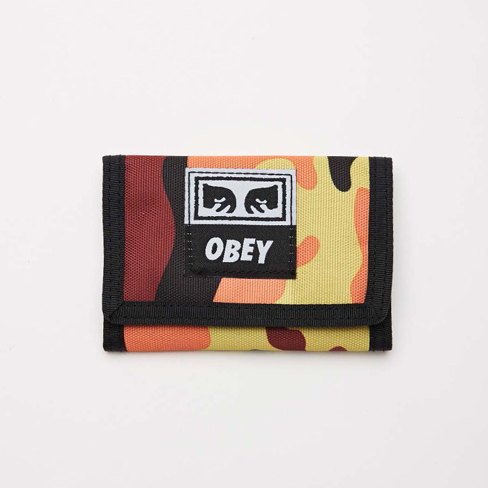 오베이 DROP OUT TRI FOLD WALLET // ORANGE FIELD CAMO