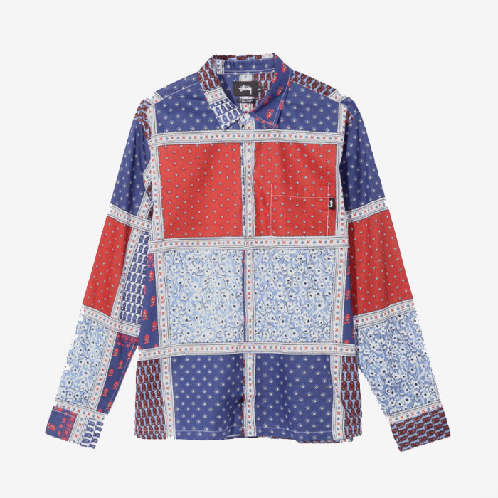 스투시 PAISLEY PATCHWORK LS SHIRT / BLUE