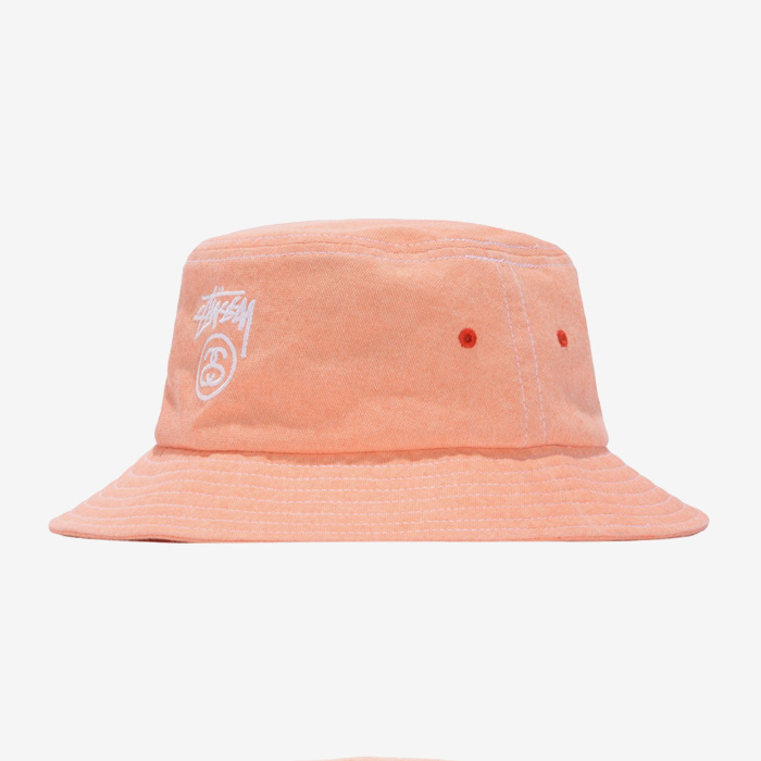 스투시 WASHED STOCK LOCK BUCKET HAT / ORANGE
