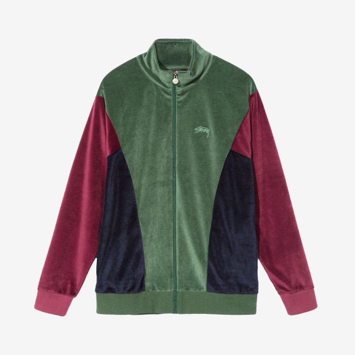 스투시 VELOUR PANELED TRACK JACKET / GREEN