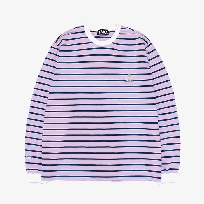 엘엠씨 LMC BUTTON PATCH STRIPE LSV TEE // puple