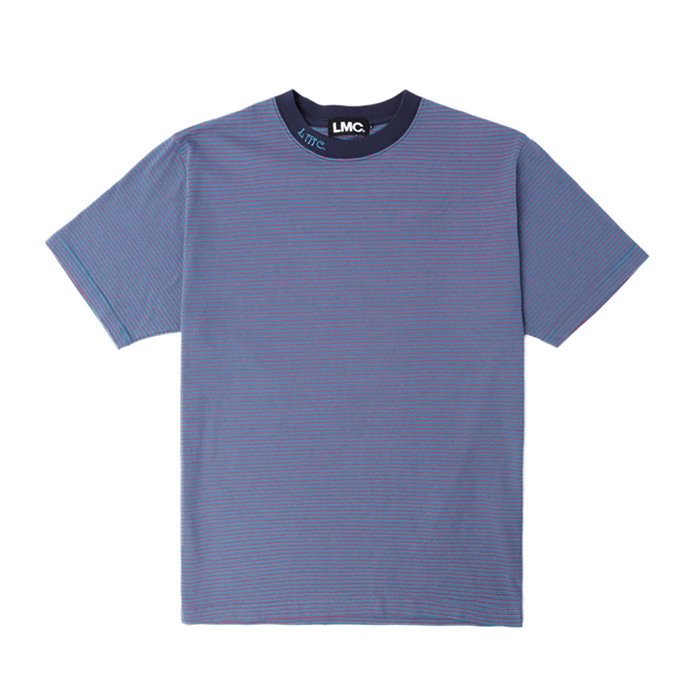 엘엠씨 LMC NECK LOGO STRIPE TEE/aqua blue