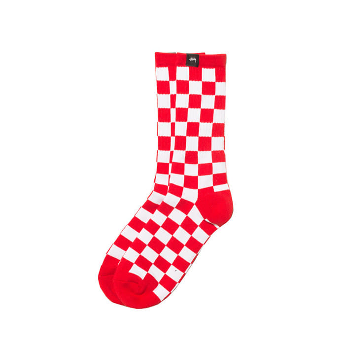 스투시 CHECKER SOCKS/RED