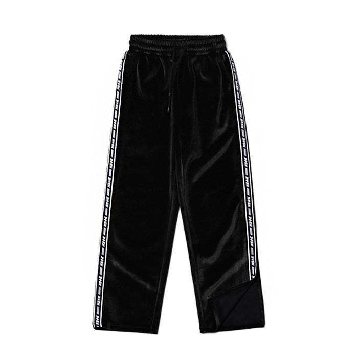네스티팬시 LINE VELVET ZIPPER PANTS/BLACK