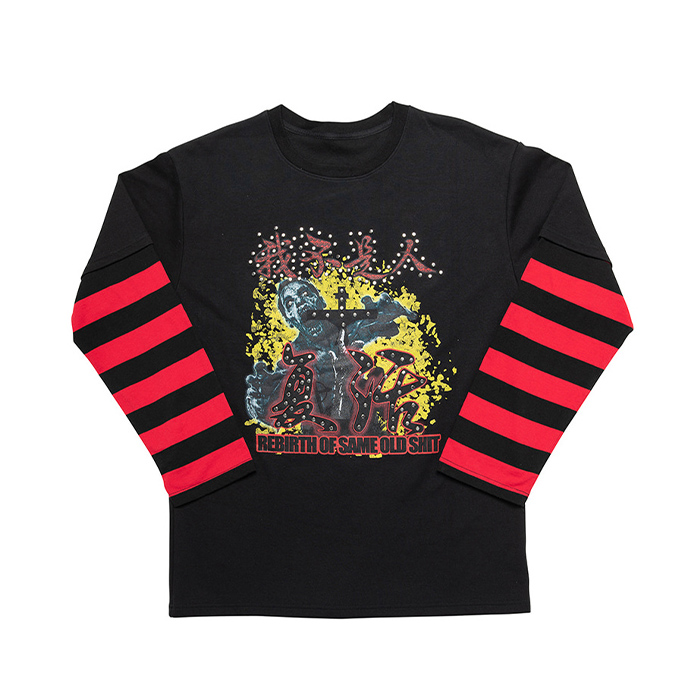 아임낫어휴먼비잉 롱슬리브 REBIRTH LONG SLEEVE T SHIRTS ( STUD Ver.)/BLACK
