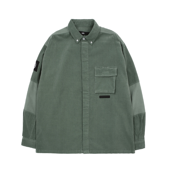 엘엠씨 셔츠 LMC REVERSE BLOCK CORDUROY SHIRT/POWDER GREEN