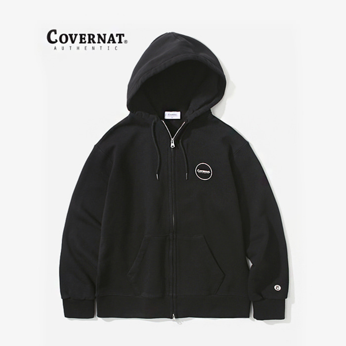 커버낫 AUTHENTIC LOGO HOODIE ZIP-UP BLACK