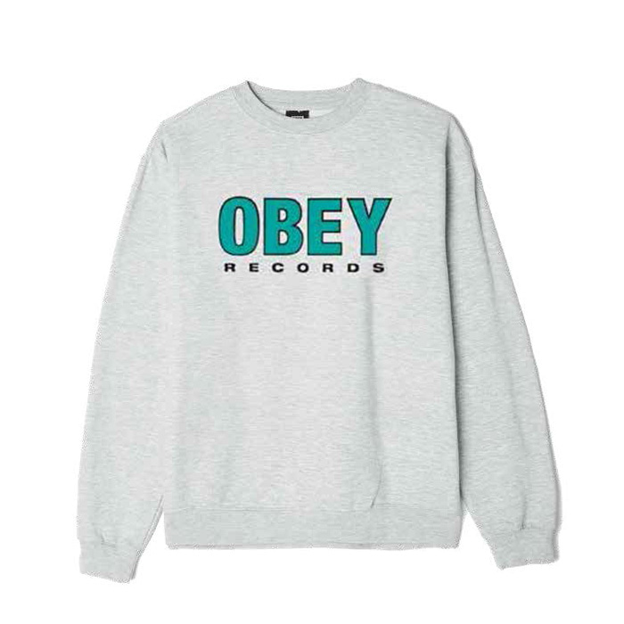 오베이 OBEY RECORDS 2 CREW NECK/ASH