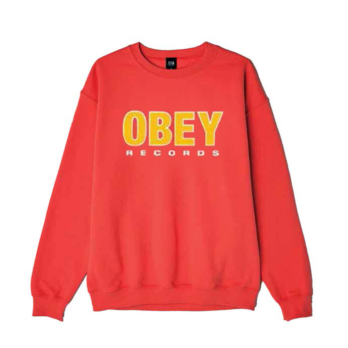 오베이 OBEY RECORDS 2 CREW NECK/RED