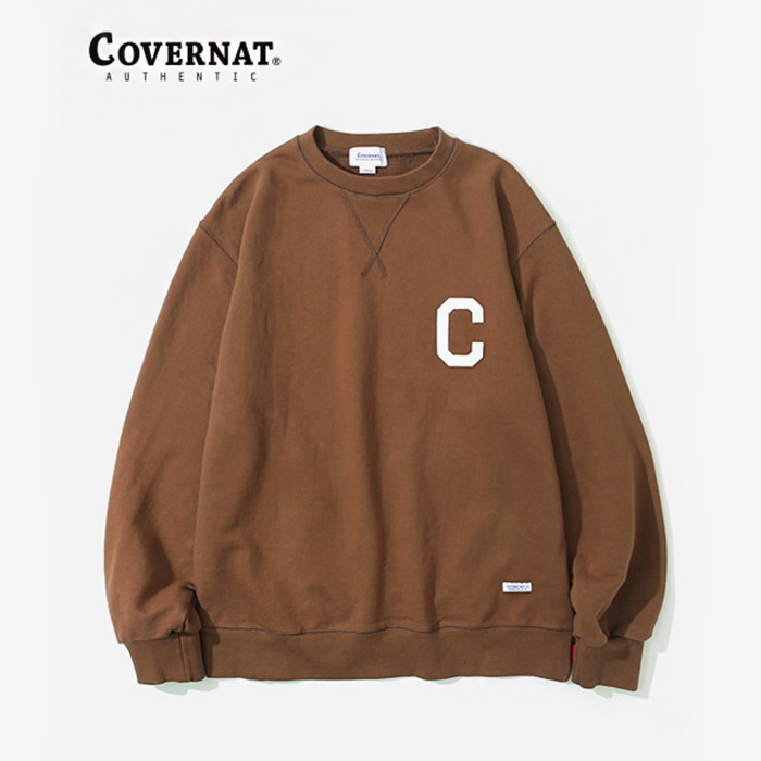 커버낫 C LOGO CREWNECK BROWN