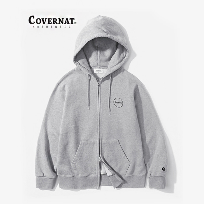 커버낫 AUTHENTIC LOGO HOODIE ZIP-UP GRAY