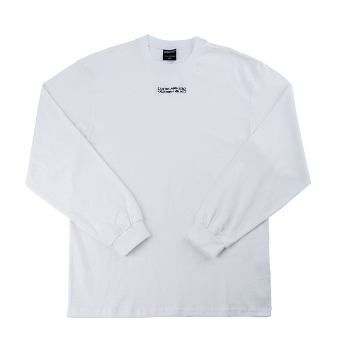 아임낫어휴먼비잉 롱슬리브 Inspired Point Long Sleeve Crew-Neck Tee - WHITE