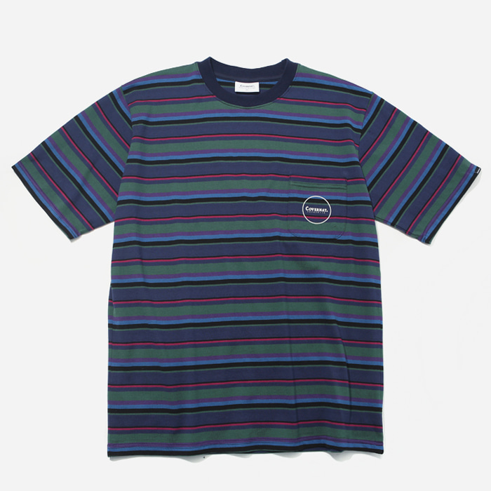 커버낫 티셔츠 S/S 1PK MULTI STRIPE TEE NAVY