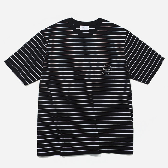 커버낫 티셔츠 S/S 1PK NARROW STRIPE TEE BLACK