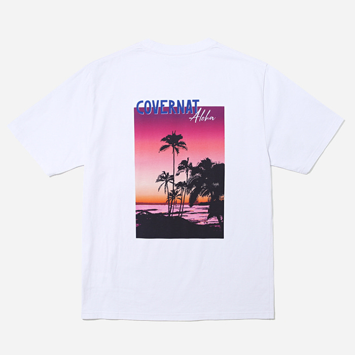 커버낫 티셔츠 S/S ALOHA SUNSET TEE WHITE