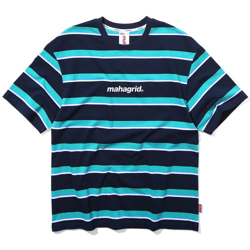 마하그리드 티셔츠 BASIC LOGO STRIPE TEE [NAVY]
