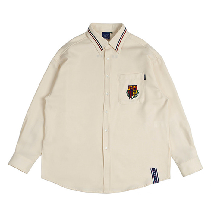 로맨틱크라운 셔츠 RMTCRW Collar Piping Shirt_Oatmeal