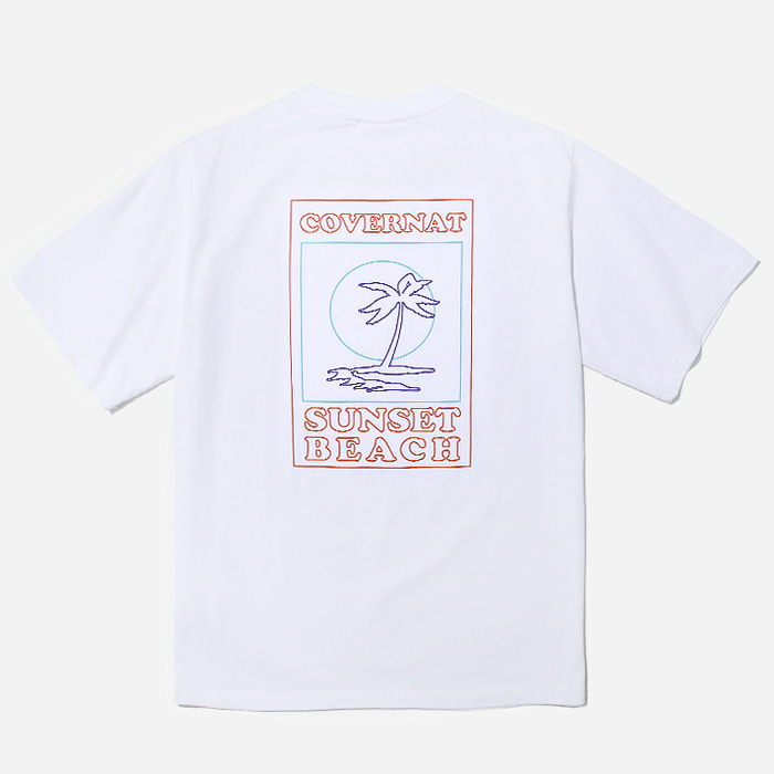 커버낫 티셔츠 S/S LINE PALM TREE TEE WHITE