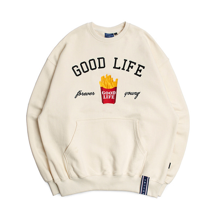 로맨틱크라운 맨투맨 10th Good Life Sweat Shirt_OATMEAL