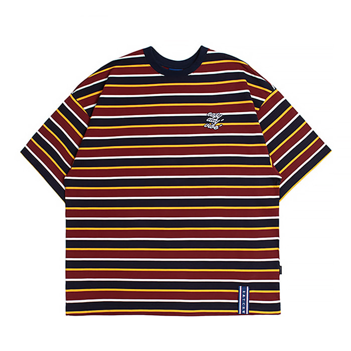 로맨틱크라운 티셔츠 E.D.V STRIPED T SHIRT Burgundy