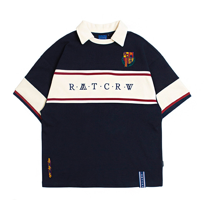 로맨틱크라운 티셔츠 CROSS LINE HALF POLO SHIRT Navy