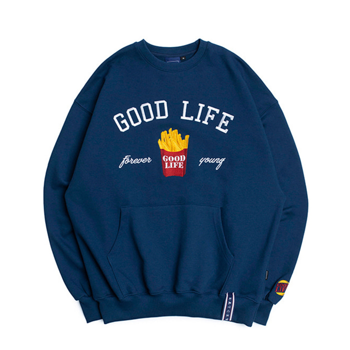로맨틱크라운 맨투맨 10th Good Life Sweat Shirt_Blue