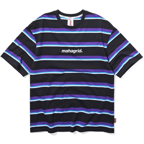 마하그리드 티셔츠 BASIC LOGO STRIPE TEE [BLACK]