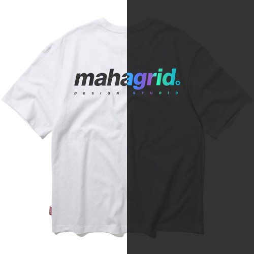 마하그리드 티셔츠 RAINBOW REFLECTOR BACK LOGO TEE [WHITE]