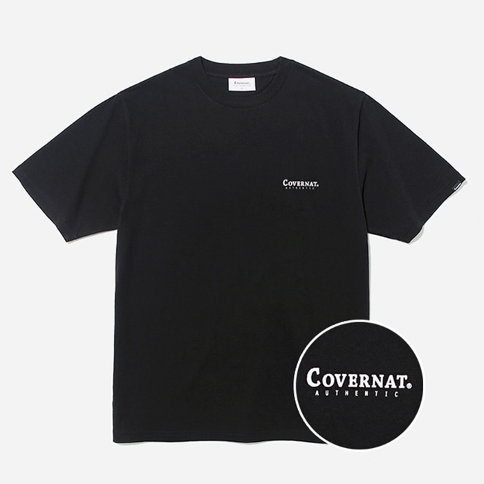 커버낫 티셔츠 S/S SMALL AUTHENTIC LOGO TEE BLACK