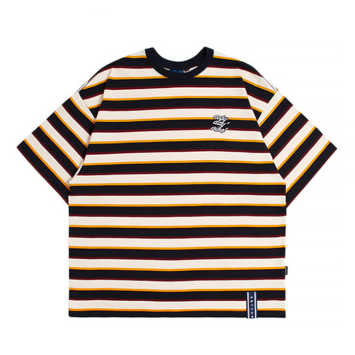 로맨틱크라운 티셔츠 E.D.V STRIPED T SHIRT OATMEAL