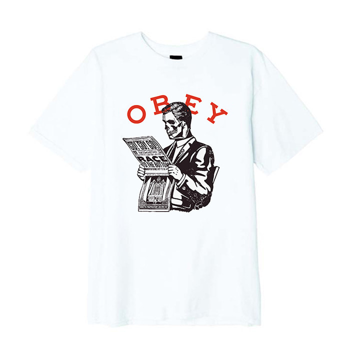 오베이 티셔츠 OBEY RACE TO THE BOTTOM BASIC TEE /WHITE
