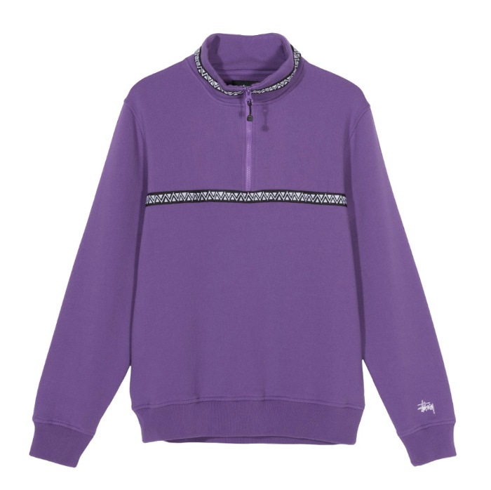 스투시 WOVEN TAPE MOCK NECK_Purple