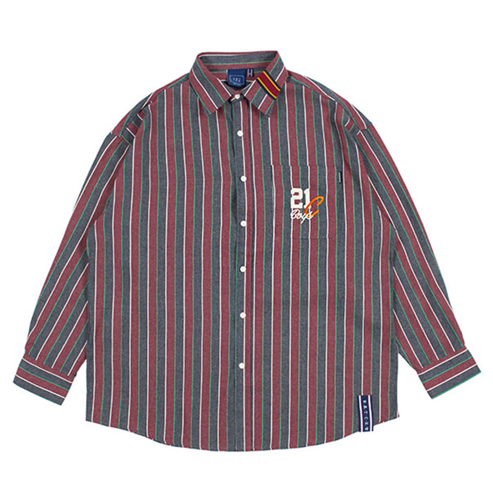 로맨틱크라운 90'S STRIPED SHIRT/burgundy