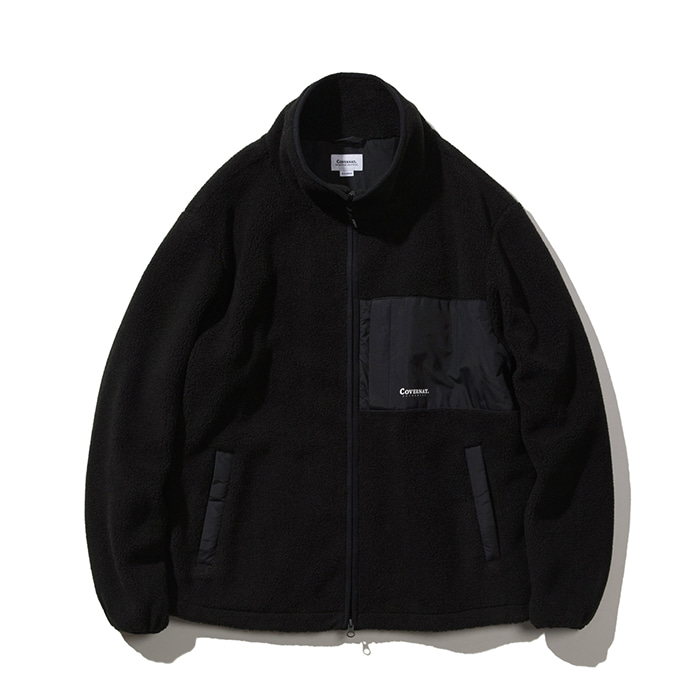 커버낫 MIXED BOA WARM UP JACKET BLACK