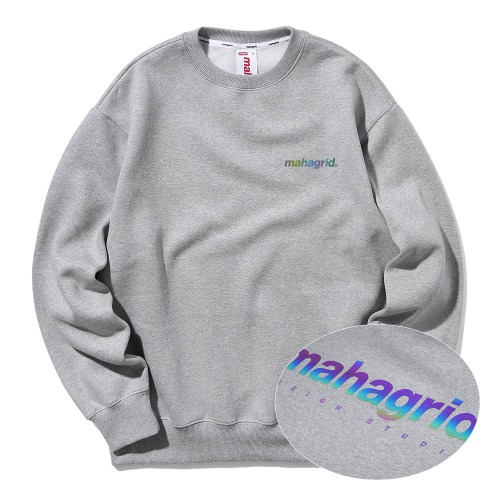 마하그리드 맨투맨 RAINBOW REFLECTIVE LOGO CREWNECK/GREY