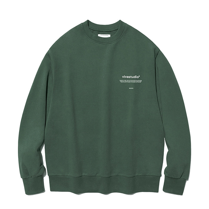비바스튜디오 맨투맨 NEW BINAURAL CREWNECK IA [GREEN TEA]