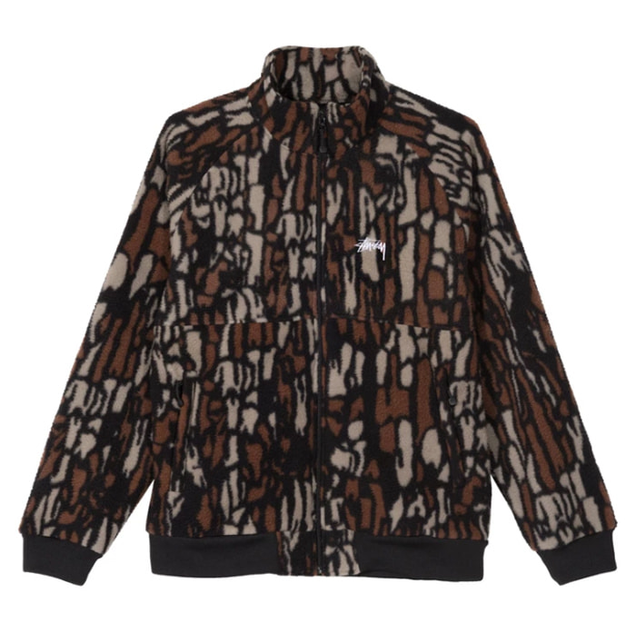 스투시 자켓 TREE BARK FLEECE JACKET/BROWN