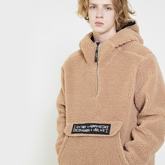 아임낫어휴먼비잉 Fleece pullover Anorak Hoodie-Jacket - Brown