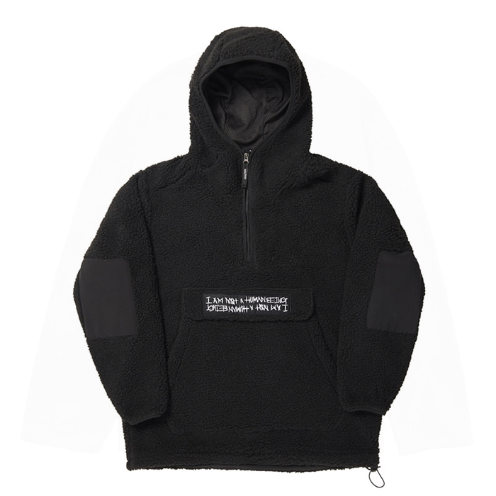 아임낫어휴먼비잉 Fleece pullover Anorak Hoodie-Jacket - Black