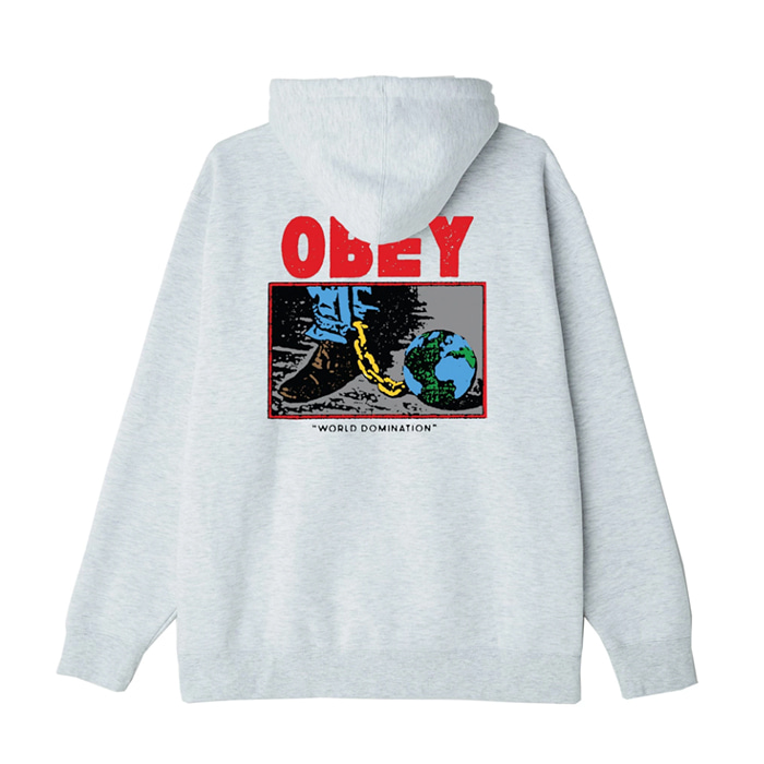오베이 후드티 OBEY WORLD DOMINATION HOOD/HEATHER ASH